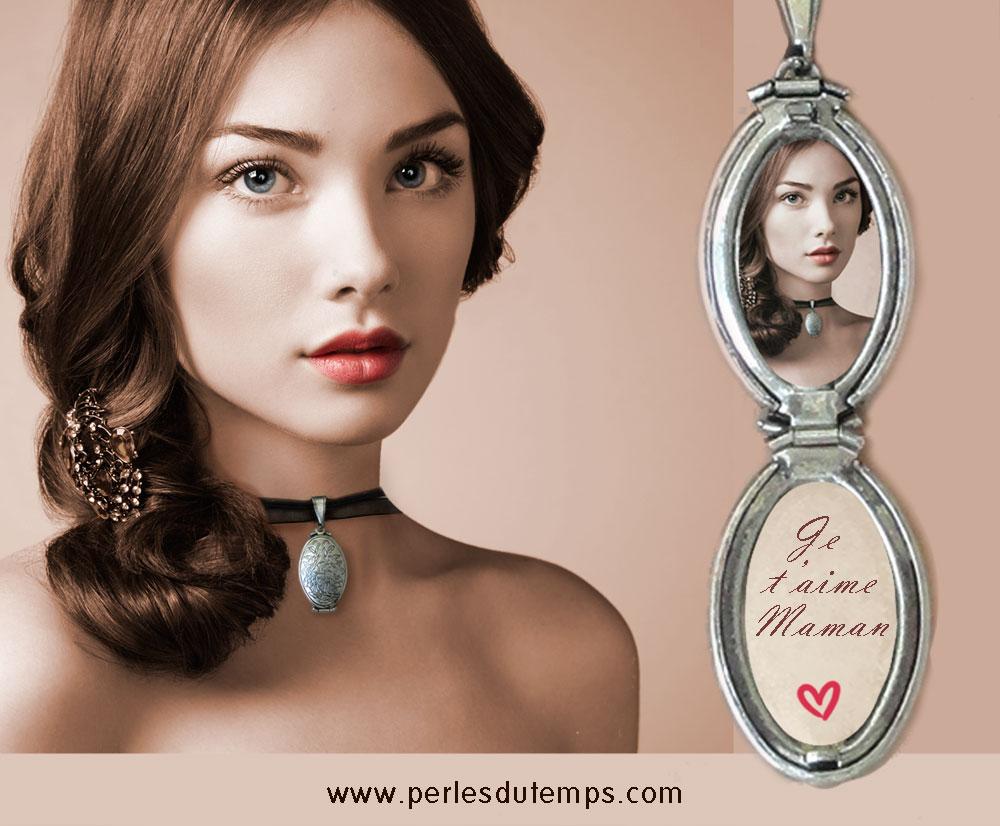 médaillon a quatre photos,médaillon photo, idées de cadeau,cadeau fêtes des mères,cadeau noël, cadeau personnalisé,medaillon ancien, medaillon argentee, medaillon perles du temps