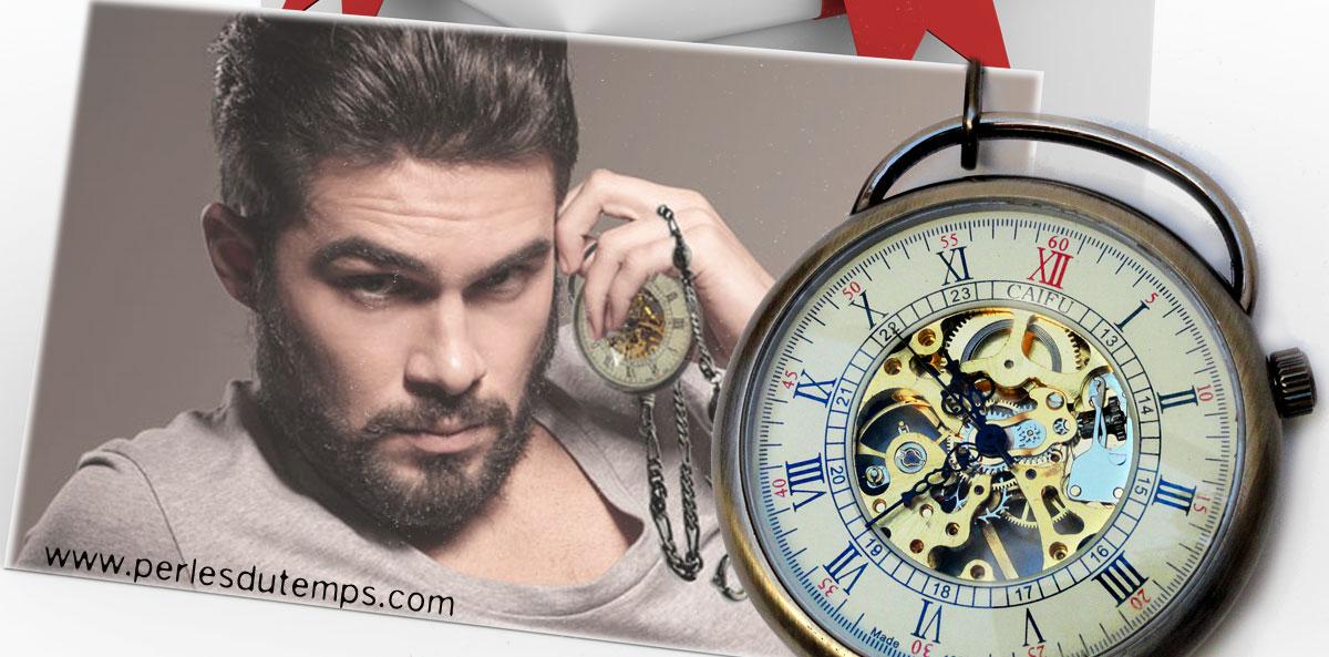 montre de poche homme, montre gousset homme, montre squelette homme, montre steampunk de perlesdutemps en cadeau original pour Saint Valentin, cadeau homme, c'est un cadeau pour lui