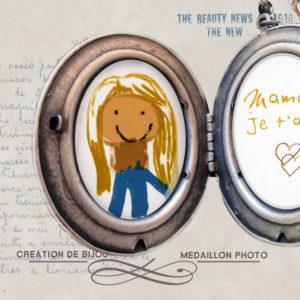 collier personnalisé porte photo, bijou vintage inspirée Alphonse Mucha, pendentif argent avec dessin enfant, médaillon fête des mères Alphonse