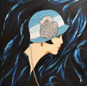 illustration chapeau cloche 1920 dessin bleu