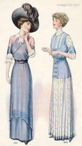 Illustration robes années 1910 bleu dessin chapeau années 20